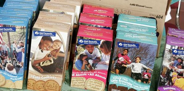 Girl Scout Cookie boxes' /